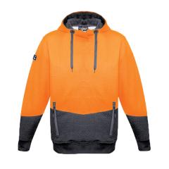 SYZMIK Unisex Hi Vis Textured Jacquard Hoodie, Orange/Charcoal
