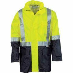 DNC HiVis Reflective Lightweight Rain Jacket, Yellow/Navy