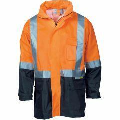 DNC HiVis Reflective Lightweight Rain Jacket, Orange/Navy