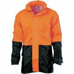 DNC Hi Vis Lightweight Rain Jacket, Orange/Navy