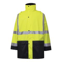 Rainbird Shelter Bio-Motion Reflective Stretch PU Rain Jacket, Yellow/Navy