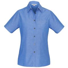 BIZ Ladies Wrinkle Free Chambray Short Sleeve Shirt