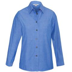 BIZ Ladies Wrinkle Free 100% Cotton Chambray Shirt, Long Sleeve