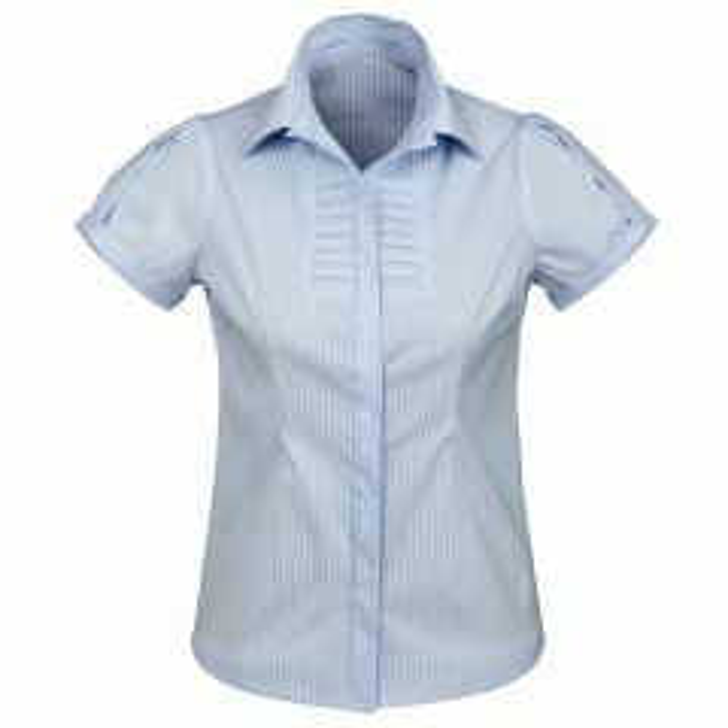 BIZ Ladies Berlin Short Sleeve Shirt, BLUE STRIPE