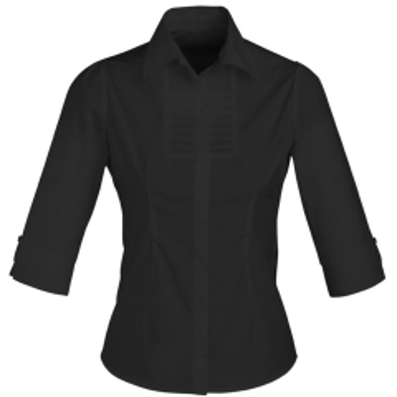 BIZ Ladies Berlin 3/4 Sleeve Shirt, BLACK