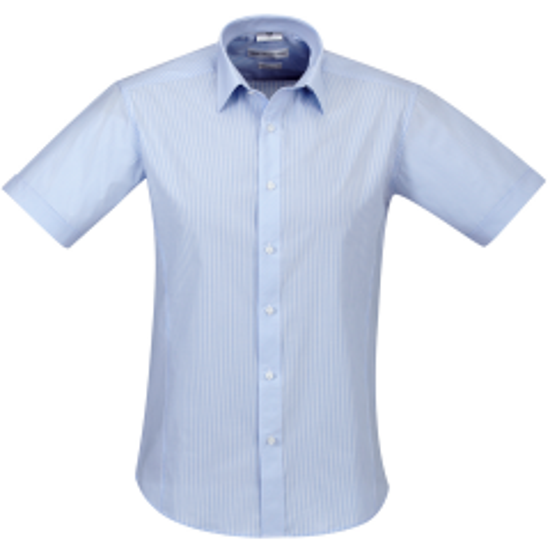 BIZ Mens Berlin Short Sleeve Shirt, BLUE