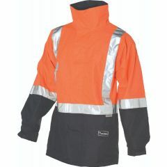 HUSKI Amp Hi Vis Flame Retardant Reflective Rain Jacket, Orange/Navy