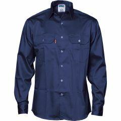 DNC Patron Saint Flame Retardant Cotton Shirt, Navy, Long Sleeve
