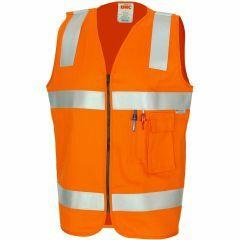 DNC Patron Saint Flame Retardant Hoop Style Refl. Cotton Drill Safety Vest, Orange