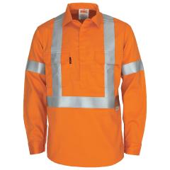 DNC Flame Retardant NSW Rail Style Refl. Closed Front Cotton Drill Shirt, Orange, L/S