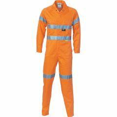 DNC Patron Saint F/R Hi Vis Hoop Style Refl. Cotton Drill Coverall, Orange