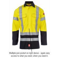 FireBear Arc Rated PPE2 (ATPV 8.8) HiVis Full Button reflective Work Shirt, Long Slv, Yel/Nav