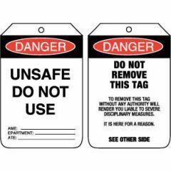 Danger Unsafe Do Not Use Tag - Cardboard, Pack/100