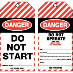 Danger Do Not Start Tag - Tear Proof Synthetic, Pk/25