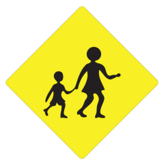 600 x 600mm - Aluminium Class 1 Fluoro - Children Crossing (Symbolic)