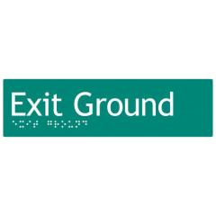 180x50mm - Braille - Green PVC - Exit Ground