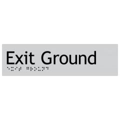 180x50mm - Braille - Silver PVC - Exit Ground
