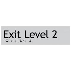 180x50mm - Braille - Silver PVC - Exit Level 2