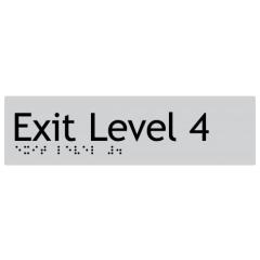 180x50mm - Braille - Silver PVC - Exit Level 4
