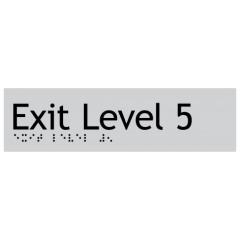 180x50mm - Braille - Silver PVC - Exit Level 5