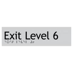 180x50mm - Braille - Silver PVC - Exit Level 6