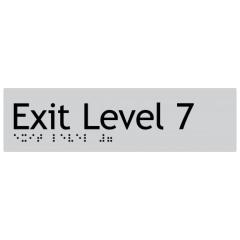 180x50mm - Braille - Silver PVC - Exit Level 7