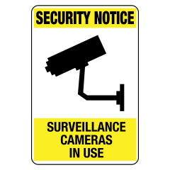 125x90mm - Self Adhesive - Security Notice Surveillance Cameras In Use