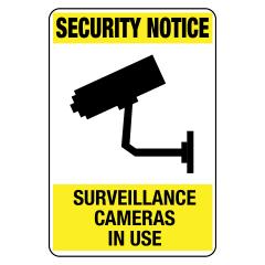 90x55mm - Self Adhesive - Security Notice Surveillance Cameras In Use