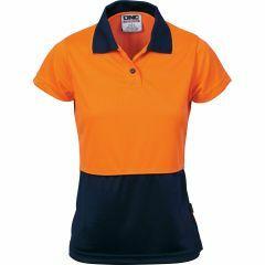 DNC Ladies HiVis 2 Tone Microfibre Polo Shirt, Orange/Navy, Short Sleeve