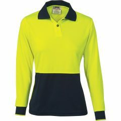 DNC Ladies Hi Vis Microfibre Polo Shirt, Yellow/Navy, Long Sleeve