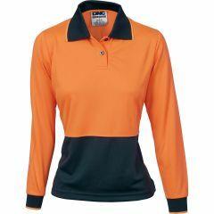 DNC Ladies Hi Vis Microfibre Polo Shirt, Orange/Navy, Long Sleeve