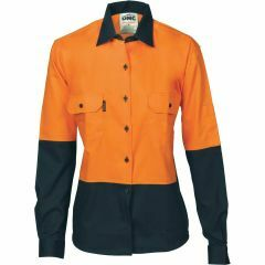 DNC Ladies Ventilate Cotton Drill Shirt, Orange/Navy, Long Sleeve