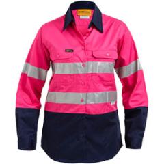 BISLEY Women's Lightweight 3M Taped Hi Vis Shirt, Pink/Navy, Long Sleeve