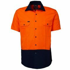Ritemate 2 Tone Cotton Drill Shirt, Short Sleeve, Org/Navy