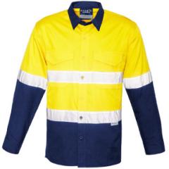 Syzmik Hi Vis Hoop Style Perf. Refl. Ventilate Ripstop Cotton Drill Shirt, Yel/Navy, L/S