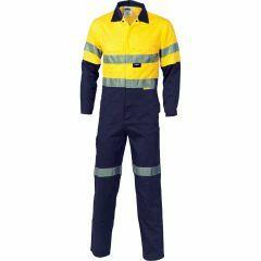 DNC Ventilate 190gsm Hi Vis Reflective Cotton Drill  Coveralls, Yellow/Navy