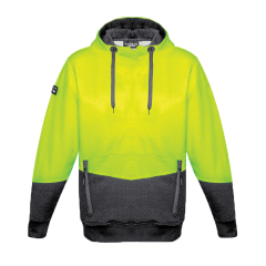 SYZMIK Unisex Hi Vis Textured Jacquard Hoodie, Yellow/Charcoal