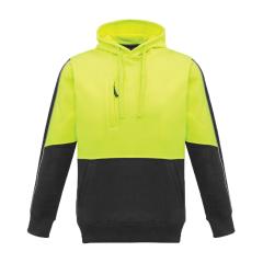 SYZMIK Unisex Hi Vis Pullover Hoodie, Yellow/Charcoal