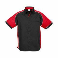 BIZ Mens Nitro Short Sleeve Shirt, BLACK/RED/WHITE