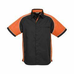 BIZ Mens Nitro Short Sleeve Shirt, Black/Orange/White