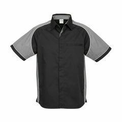 BIZ Mens Nitro Short Sleeve Shirt, BLACK/GREY/WHITE