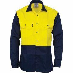 DNC HiVis Flame Retardant Cotton Drill Shirt, Yellow/Navy, Long Sleeve