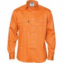 DNC Patron Saint Flame Retardant Cotton Shirt, Orange, Long Sleeve