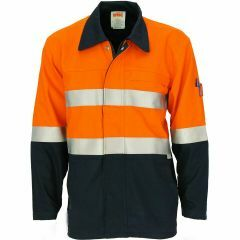 DNC Patron Saint F/R Hi Vis Hoop Style Refl. Cotton Drill Jacket, Org/Navy