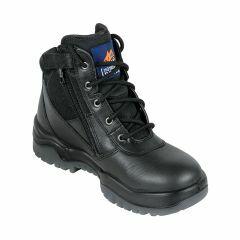 Mongrel Zip Sider Lace Up Safety Boot, Black Kip