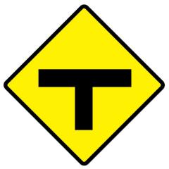 T Intersection (Symbolic), 600 x 600 Aluminium, Class 1 Reflective
