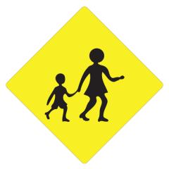 Children Crossing (Symbolic), 600 x 600 Aluminium, Class 1X Reflective
